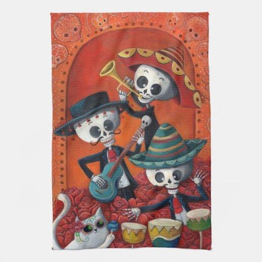 Trío del Mariachi de Dia de Los Muertos Skeleton Toalla