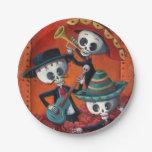 Trío del Mariachi de Dia de Los Muertos Skeleton Plato De Papel 17,78 Cm
