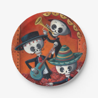 Trío del Mariachi de Dia de Los Muertos Skeleton Plato De Papel De 7 Pulgadas