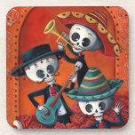 Trío del Mariachi de Dia de Los Muertos Skeleton Posavasos De Bebida