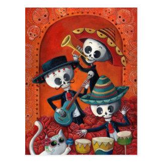 Trío del Mariachi de Dia de Los Muertos Skeleton Postales