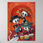 Trío del Mariachi de Dia de Los Muertos Skeleton Póster