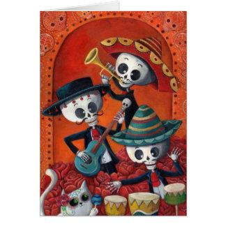 Trío del Mariachi de Dia de Los Muertos Skeleton Tarjeta De Felicitación