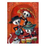 Trío del Mariachi de Dia de Los Muertos Skeleton Postal
