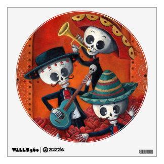 Trío del Mariachi de Dia de Los Muertos Skeleton Vinilo Decorativo