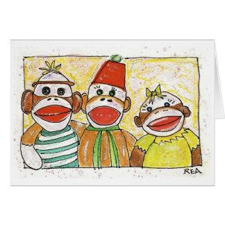 trío del mono tarjeta de felicitación