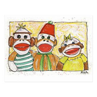 trío del mono tarjeta postal