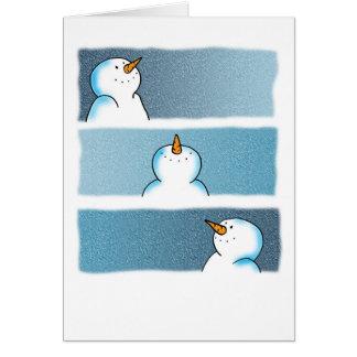 Trío del muñeco de nieve tarjeta de felicitación