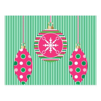 Trío del ornamento del navidad tarjeta postal