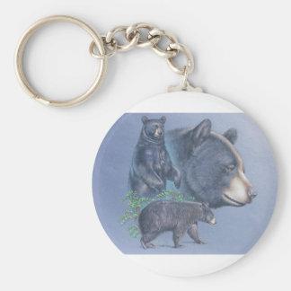 Trío del oso negro llavero redondo tipo pin