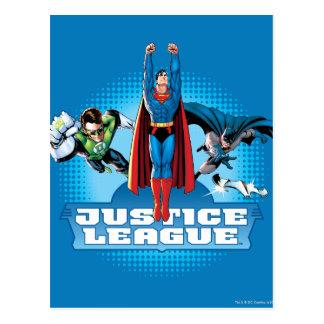 Trío del poder de la liga de justicia tarjeta postal