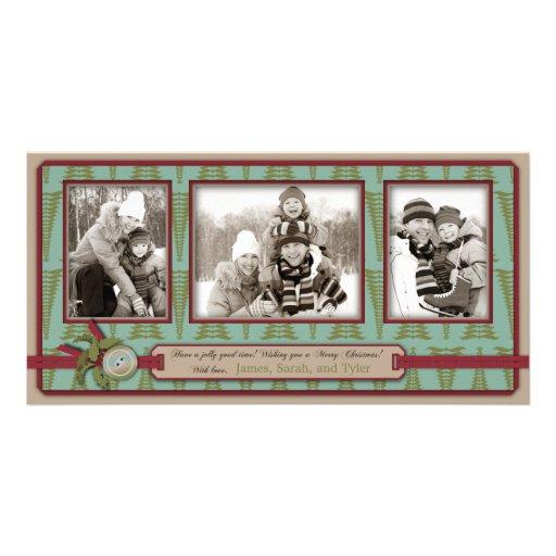 Trío elegante de la tarjeta de la foto del navidad tarjetas personales