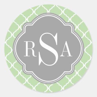 Trío gris del monograma del modelo verde del pegatina redonda