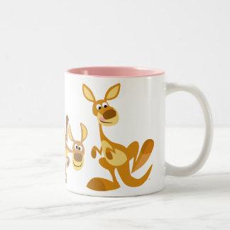 Trío lindo de la taza de KangaROOS del dibujo anim