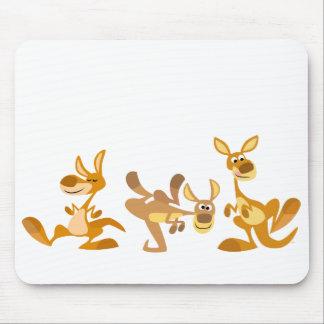 Trío lindo del dibujo animado KangaROOS Mousepad