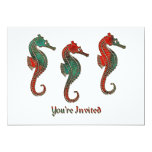 Trío metálico del Seahorse del navidad Invitación 12,7 X 17,8 Cm