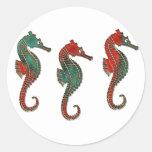Trío metálico del Seahorse del navidad Pegatina Redonda
