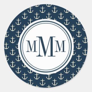 Trio Monogram Anchor Pattern Classic Round Sticker