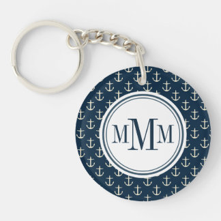 Trio Monogram Anchor Pattern Double-Sided Round Acrylic Keychain
