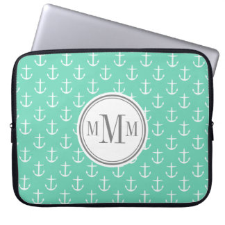 Trio Monogram Mint White Anchor Pattern Computer Sleeve