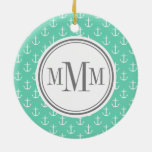 Trio Monogram Mint White Anchor Pattern Double-Sided Ceramic Round Christmas Ornament