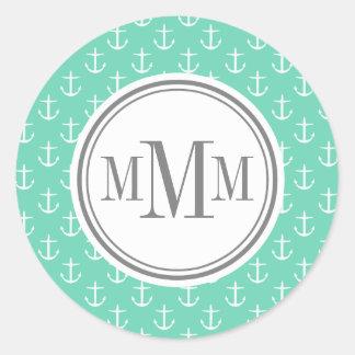 Trio Monogram Mint White Anchor Pattern Round Stickers