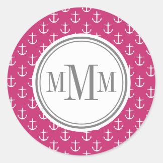 Trio Monogram Pink White Anchor Pattern Classic Round Sticker