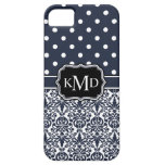 Trio Monogrammed Navy Damask iPhone 5 Cover