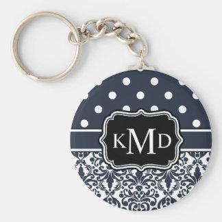 Trio Monogrammed Navy Damask Keychain