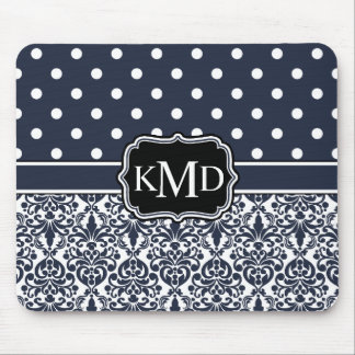 Trio Monogrammed Navy Damask Mouse Pad