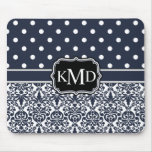 Trio Monogrammed Navy Damask Mousepads