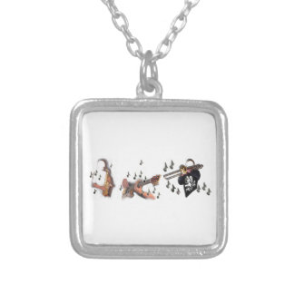 Trio, musicians , abstract guitar, trombone, sax, silver plated necklace