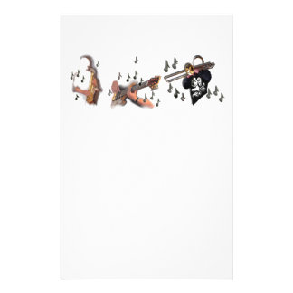 Trio, musicians , abstract guitar, trombone, sax, stationery