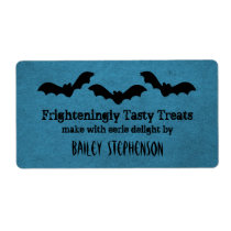 Trio of Bats Halloween Baking Labels, Dark Blue Shipping Label