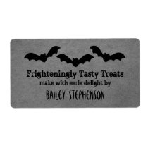 Trio of Bats Halloween Baking Labels, Gray Shipping Label