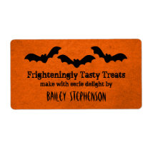 Trio of Bats Halloween Baking Labels, Orange Shipping Label
