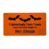 Trio of Bats Halloween Baking Labels, Orange Shipping Label