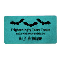 Trio of Bats Halloween Baking Labels, Teal Shipping Label