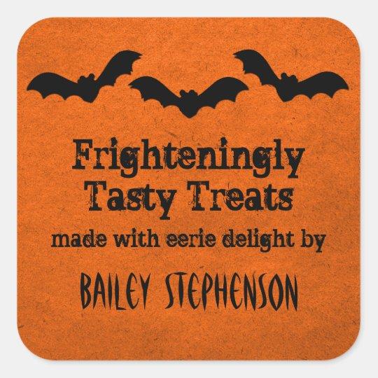 Trio of Bats Halloween Baking Stickers, Orange Square Sticker