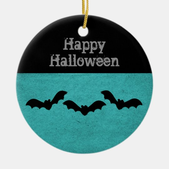 Trio of Bats Halloween Ornament, Teal Ceramic Ornament