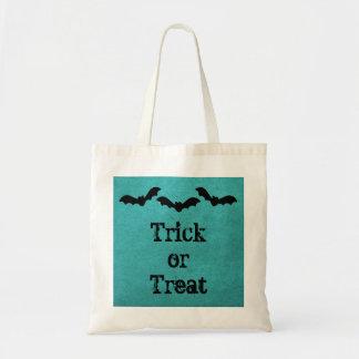 Trio of Bats Halloween Treat Bag, Teal Tote Bag