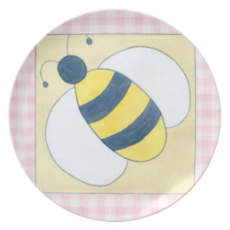 Trio of Bees with Flowers Party Plate