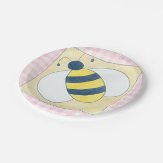 Trio of Bees with Flowers 7 Inch Paper Plate