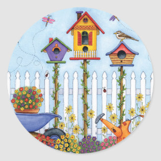 Trio of Birdhouses Classic Round Sticker