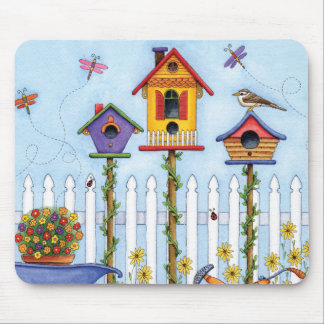 Trio of Birdhouses Mouse Pad