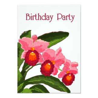 Trio of Cattleyas Birthday Party Personalized Invitations