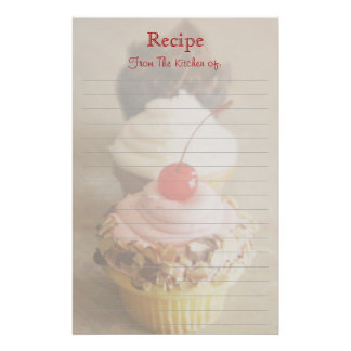 Trio of Cherry Cupcake Lined Recipe Stationery