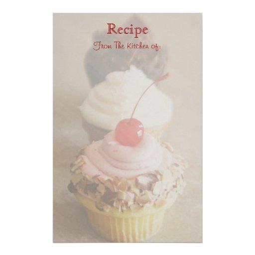 Trio of Cherry Cupcake Recipe Stationery