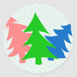 Trio of Christmas Trees Classic Round Sticker