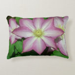 Trio of Clematis Pink and White Spring Flowers Accent Pillow